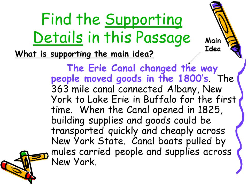 Find the Supporting Details in this Passage The Erie Canal changed the way people moved goods in the 1800's. The 363 mile canal connected Albany, New
