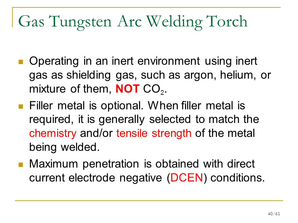 40/61 Gas Tungsten Arc Welding Torch Operating in an inert environment using inert gas as shielding gas, such as argon, helium, or mixture of them, NOT CO 2.