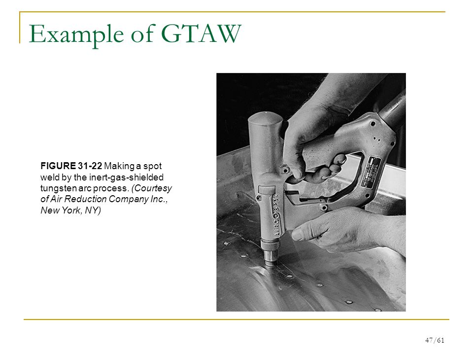 47/61 Example of GTAW FIGURE 31-22 Making a spot weld by the inert-gas-shielded tungsten arc process.