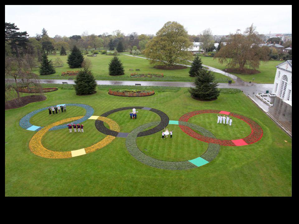 Giant Olympic Rings in Kew Gardens
