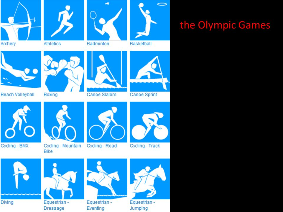 These are the sports at the Olympic Games. Do you know all of them?