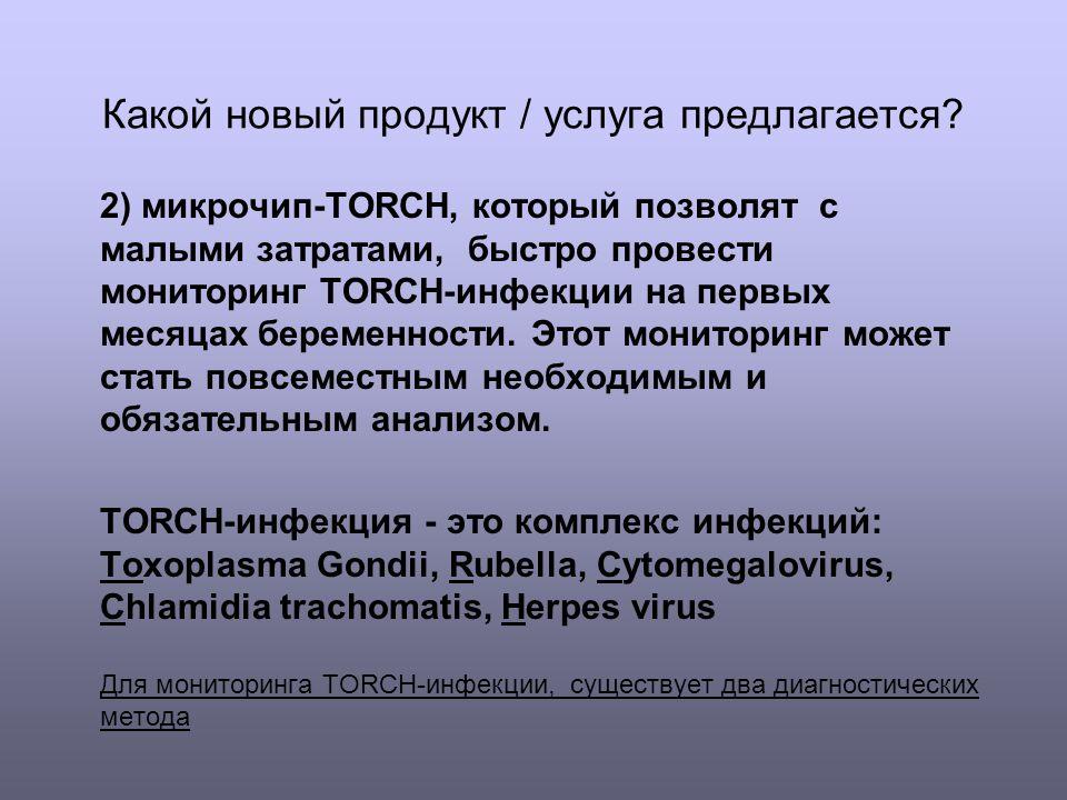 Какой новый продукт / услуга предлагается? 2) микрочип-TORCH, который позволят с малыми затратами, быстро провести мониторинг TORCH-инфекции на первых