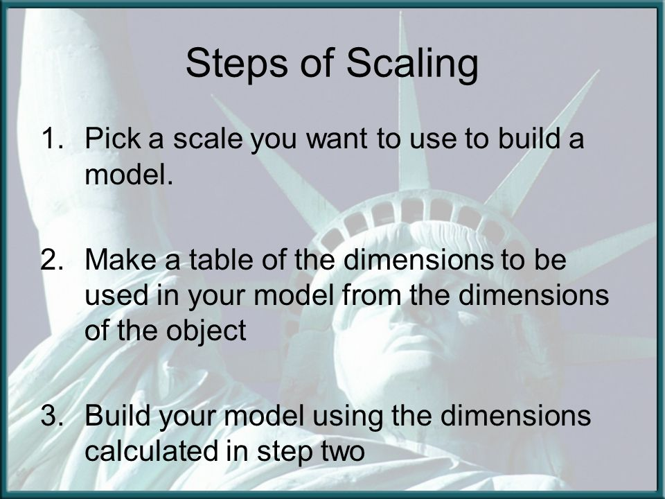 Steps of Scaling 1.Pick a scale you want to use to build a model. 2.Make a table of the dimensions to be used in your model from the dimensions of the