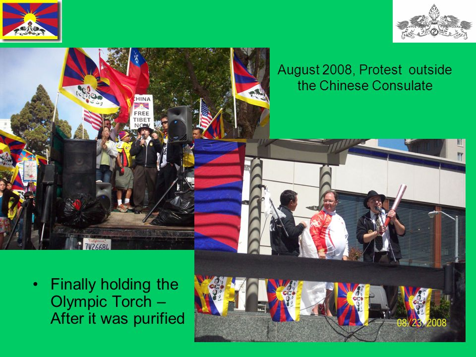 22 August 2008, Protest outside the Chinese Consulate Finally holding the Olympic Torch – After it was purified