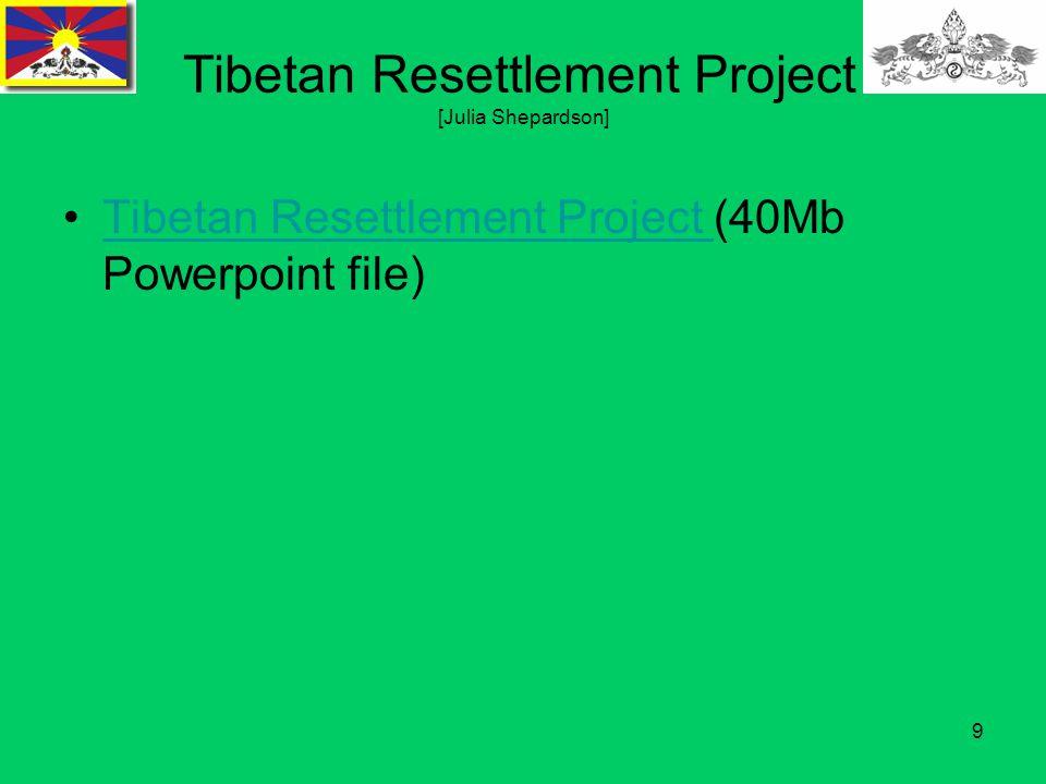 9 Tibetan Resettlement Project [Julia Shepardson] Tibetan Resettlement Project (40Mb Powerpoint file)Tibetan Resettlement Project
