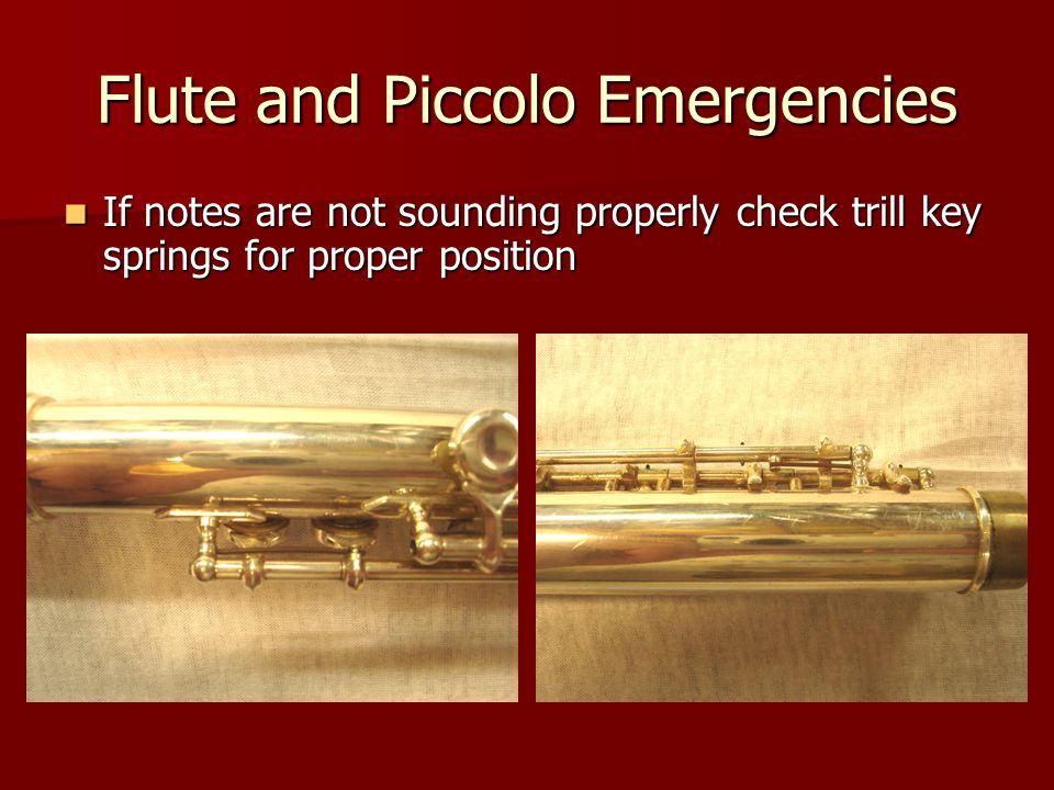 Flute and Piccolo Emergencies If notes are not sounding properly check trill key springs for proper position If notes are not sounding properly check trill key springs for proper position