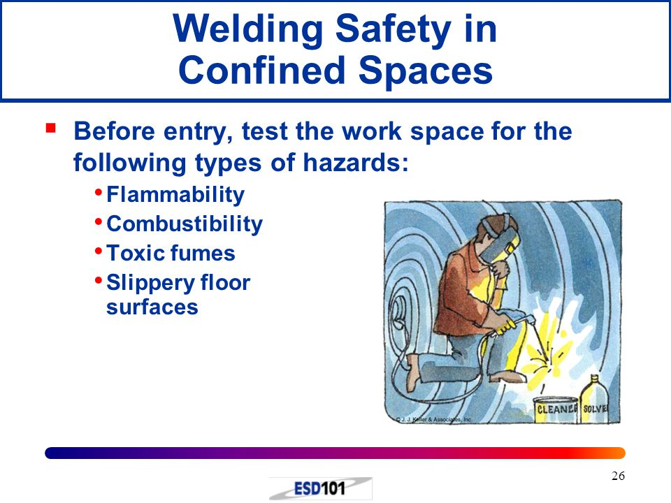 26 Welding Safety in Confined Spaces  Before entry, test the work space for the following types of hazards: Flammability Combustibility Toxic fumes S