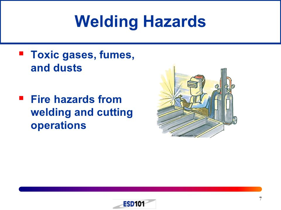 7  Toxic gases, fumes, and dusts  Fire hazards from welding and cutting operations