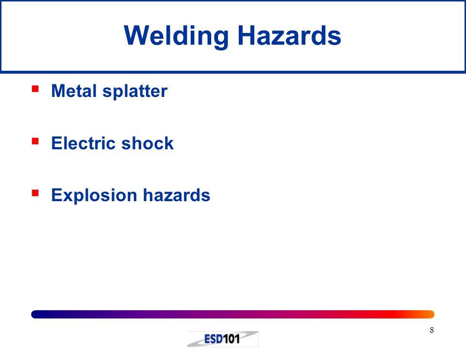 8 Welding Hazards  Metal splatter  Electric shock  Explosion hazards