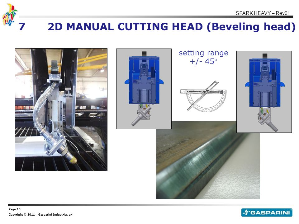 Page 15 Copyright © 2011 – Gasparini Industries srl SPARK HEAVY – Rev01 72D MANUAL CUTTING HEAD (Beveling head) setting range +/- 45°