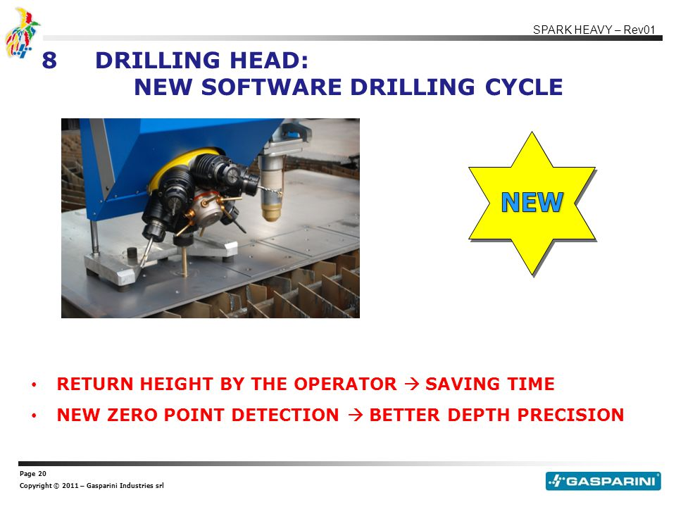 Page 20 Copyright © 2011 – Gasparini Industries srl SPARK HEAVY – Rev01 8DRILLING HEAD: NEW SOFTWARE DRILLING CYCLE RETURN HEIGHT BY THE OPERATOR  SAVING TIME NEW ZERO POINT DETECTION  BETTER DEPTH PRECISION