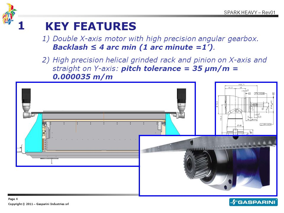 Page 4 Copyright © 2011 – Gasparini Industries srl SPARK HEAVY – Rev01 1)Double X-axis motor with high precision angular gearbox.