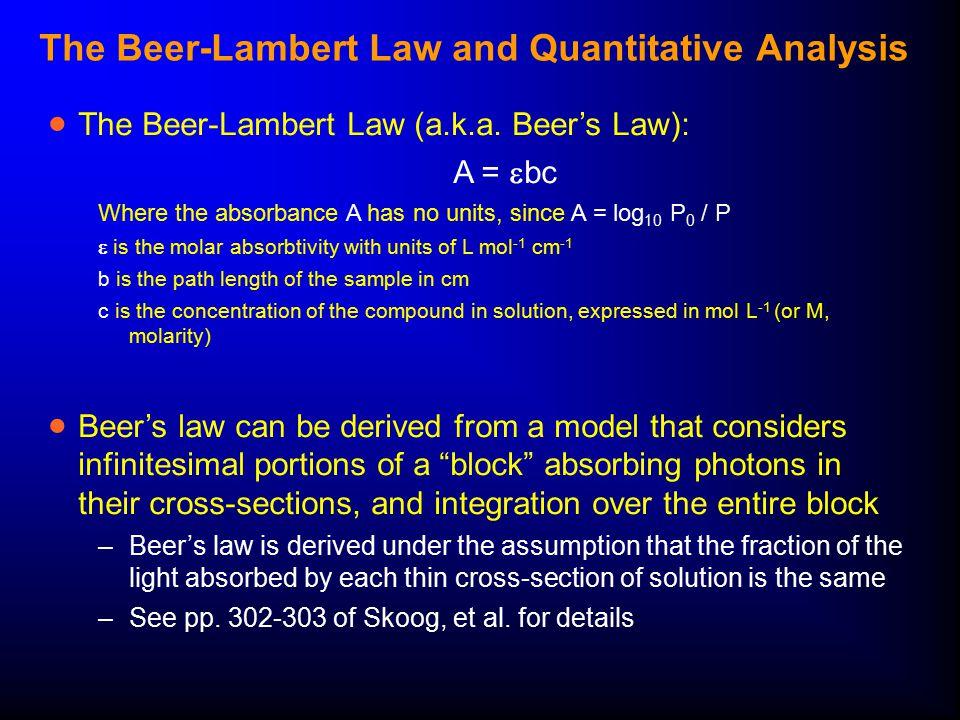 The Beer-Lambert Law and Quantitative Analysis  The Beer-Lambert Law (a.k.a.