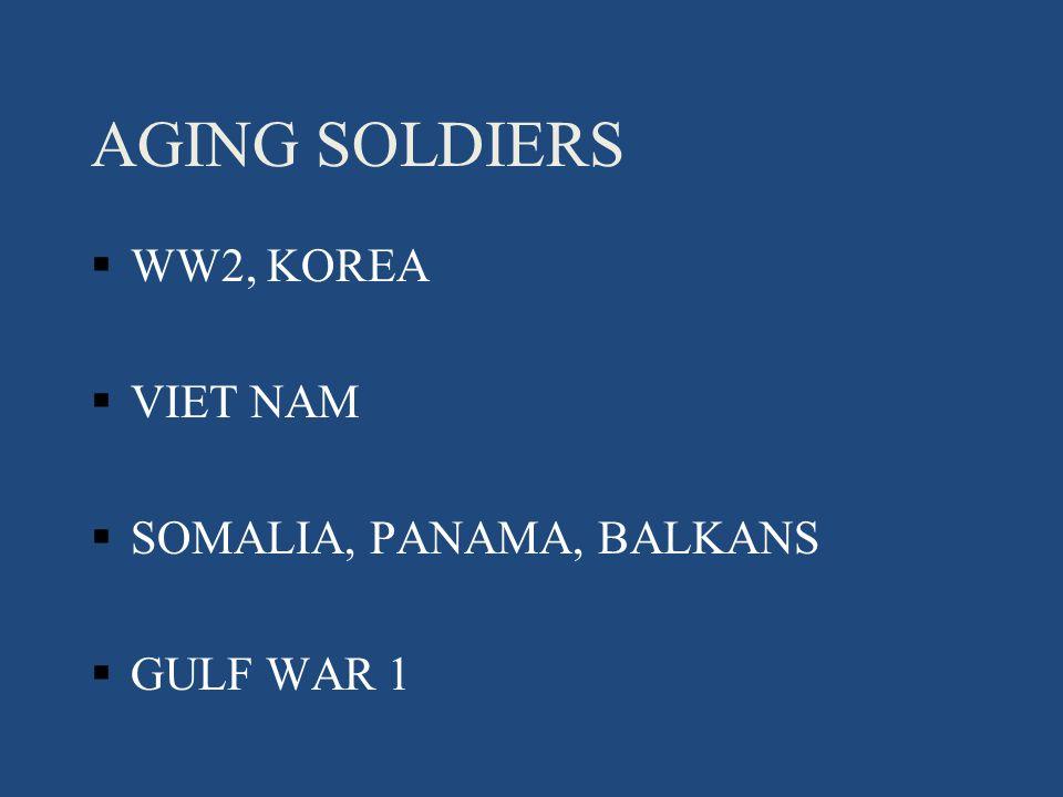 AGING SOLDIERS §WW2, KOREA §VIET NAM §SOMALIA, PANAMA, BALKANS §GULF WAR 1