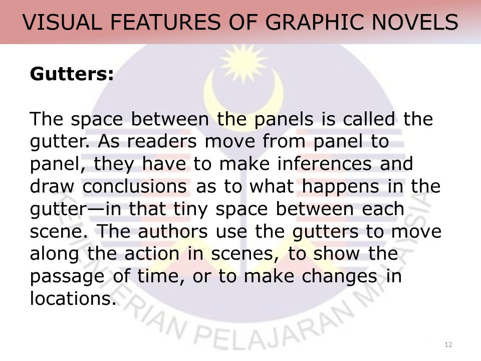 12 VISUAL FEATURES OF GRAPHIC NOVELS Gutters: The space between the panels is called the gutter.