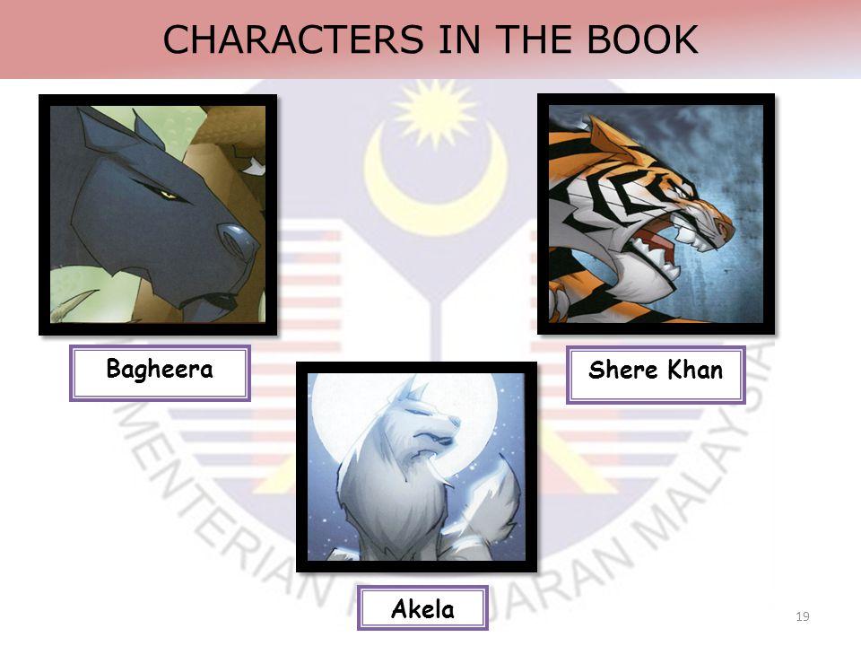 19 CHARACTERS IN THE BOOK Shere Khan Akela Bagheera