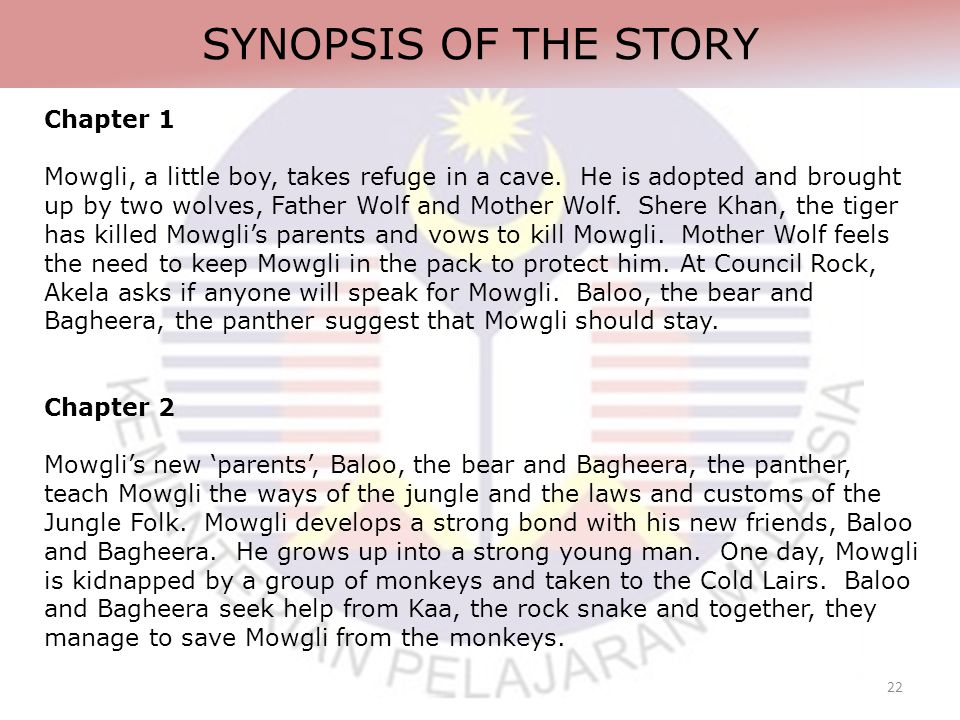 22 SYNOPSIS OF THE STORY Chapter 1 Mowgli, a little boy, takes refuge in a cave.
