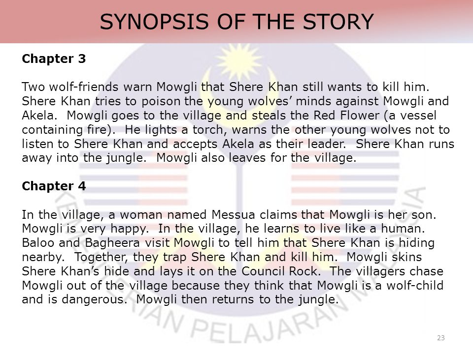 23 SYNOPSIS OF THE STORY Chapter 3 Two wolf-friends warn Mowgli that Shere Khan still wants to kill him.