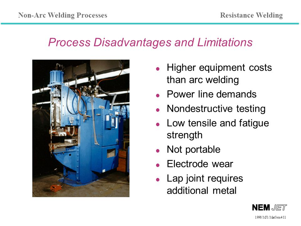 Non-Arc Welding Processes 1998/1998/MJ1/MatJoin4/11 Process Disadvantages and Limitations l Higher equipment costs than arc welding l Power line demands l Nondestructive testing l Low tensile and fatigue strength l Not portable l Electrode wear l Lap joint requires additional metal Resistance Welding