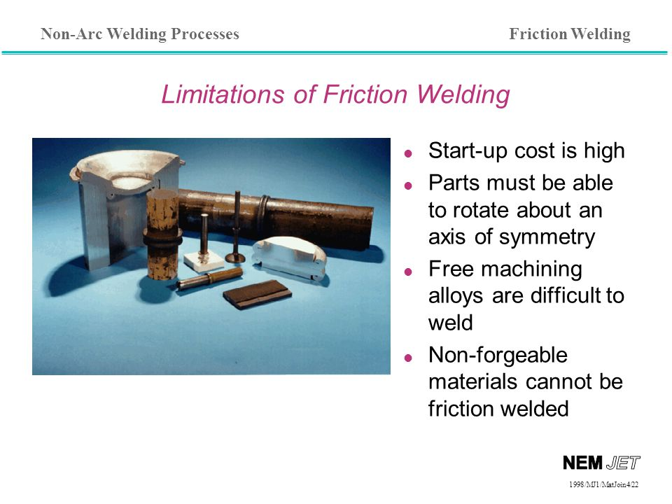 Non-Arc Welding Processes 1998/1998/MJ1/MatJoin4/22 Limitations of Friction Welding l Start-up cost is high l Parts must be able to rotate about an axis of symmetry l Free machining alloys are difficult to weld l Non-forgeable materials cannot be friction welded Friction Welding