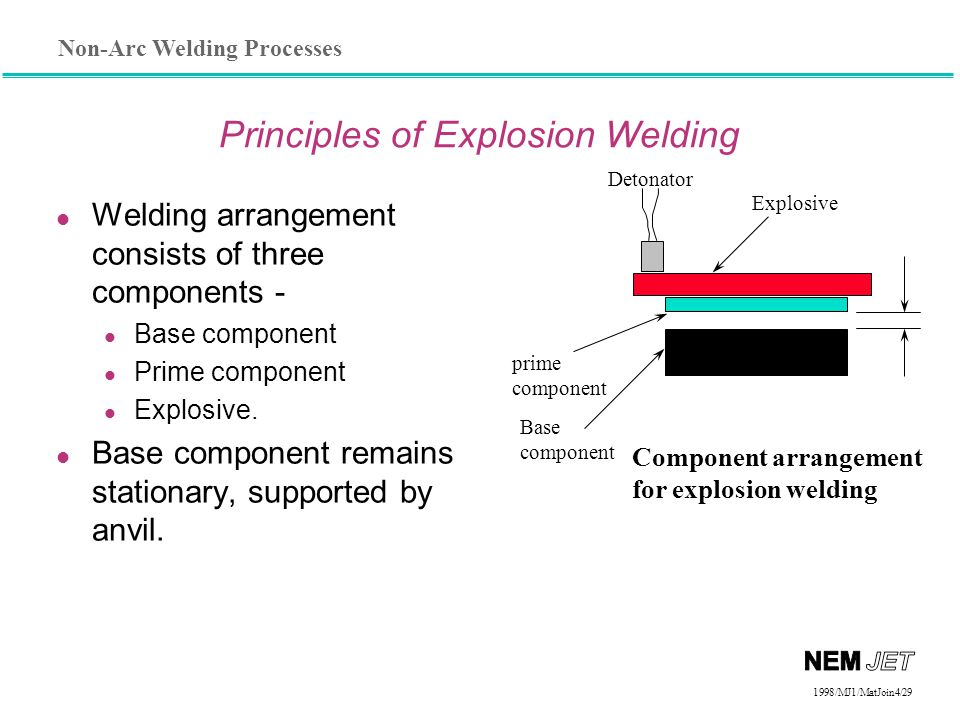Non-Arc Welding Processes 1998/1998/MJ1/MatJoin4/29 l Welding arrangement consists of three components - Base component Prime component Explosive. l B