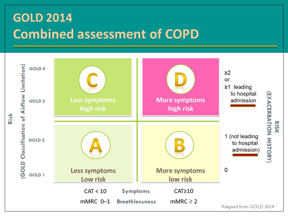 GOLD 2014 Combined assessment of COPD Adapted from GOLD 2014