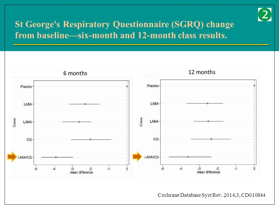 St George s Respiratory Questionnaire (SGRQ) change from baseline—six-month and 12-month class results.