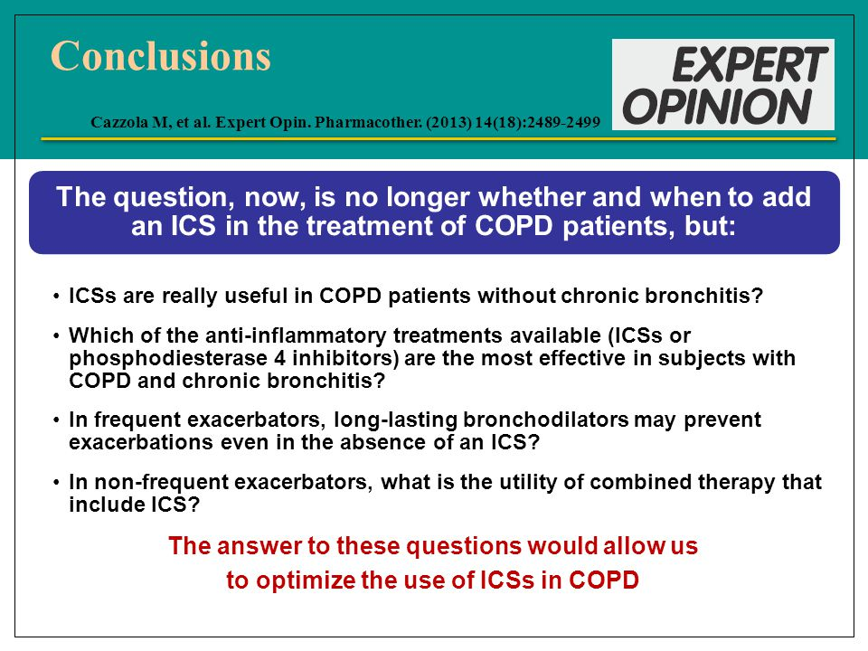 The question, now, is no longer whether and when to add an ICS in the treatment of COPD patients, but: ICSs are really useful in COPD patients without chronic bronchitis.