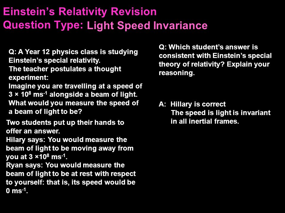 Einstein's Relativity Revision Question Type: A container inside a rocket ship is observed through a window by Sam, an astronaut, floating freely in space.