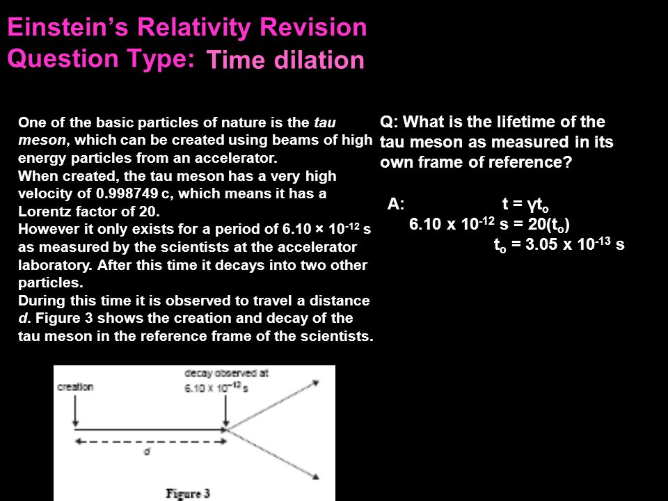 Einstein's Relativity Revision Question Type: When created, the tau meson has a very high velocity of 0.998749 c, which means it has a Lorentz factor of 20.