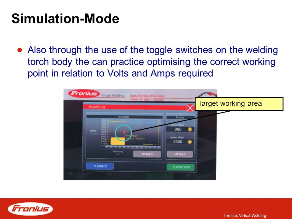 Fronius Virtual Welding Simulation-Mode Also through the use of the toggle switches on the welding torch body the can practice optimising the correct working point in relation to Volts and Amps required Target working area