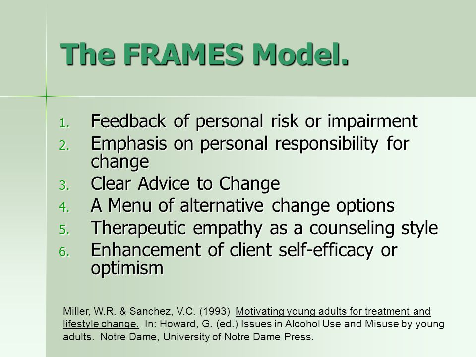 The FRAMES Model.1. Feedback of personal risk or impairment 2.