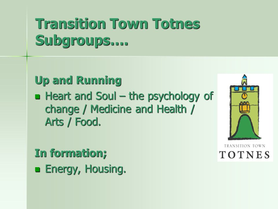 Transition Town Totnes Subgroups….