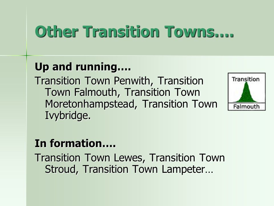 Other Transition Towns….Up and running….