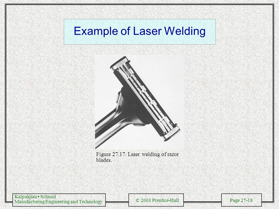 Kalpakjian Schmid Manufacturing Engineering and Technology © 2001 Prentice-Hall Page 27-18 Example of Laser Welding Figure 27.17 Laser welding of razor blades.