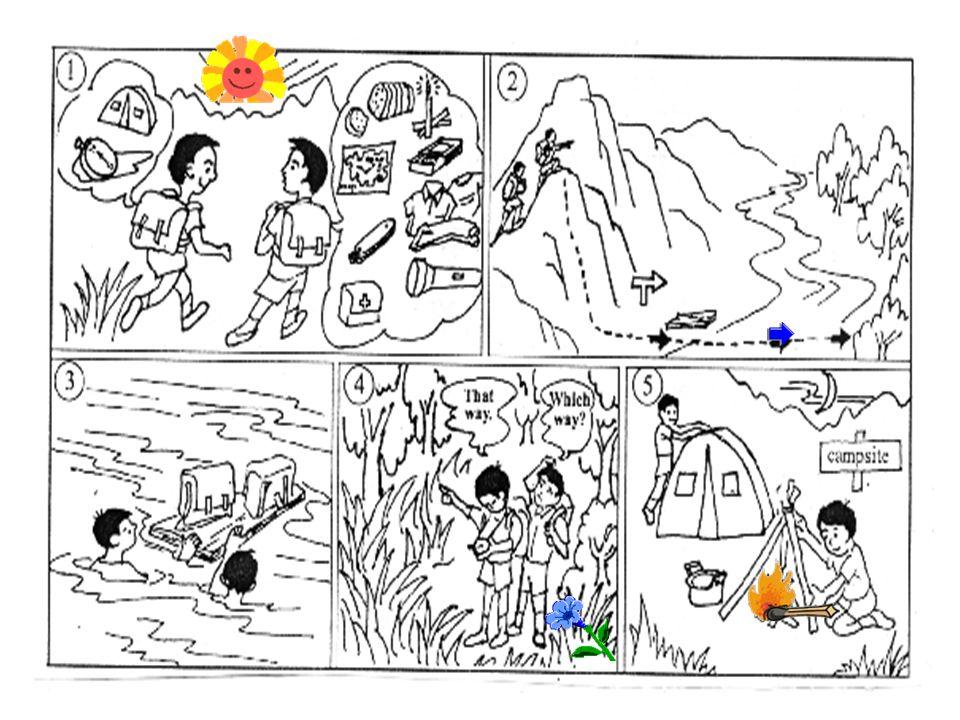 你和李明参加了一次野外生存训练。 以下 5 幅图画表现了野外训练活动的过程, 请根据图示写一篇英文日记。 注意 :1.