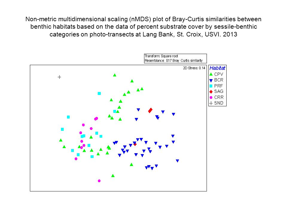 Non-metric multidimensional scaling (nMDS) plot of Bray-Curtis similarities between benthic habitats based on the data of percent substrate cover by sessile-benthic categories on photo-transects at Lang Bank, St.