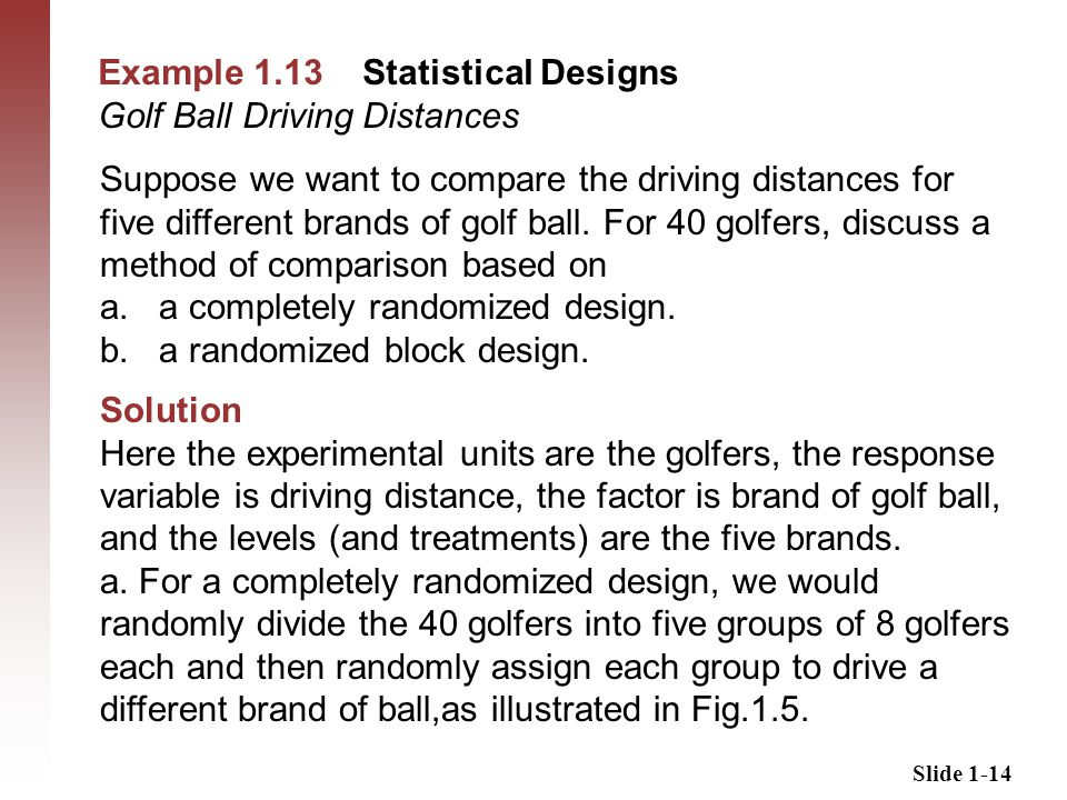 Slide 1-14 Example 1.13 Statistical Designs Golf Ball Driving Distances Suppose we want to compare the driving distances for five different brands of golf ball.