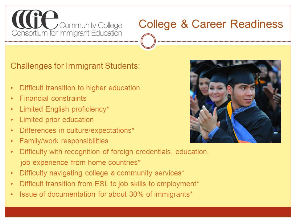 College & Career Readiness Challenges for Immigrant Students: Difficult transition to higher education Financial constraints Limited English proficiency* Limited prior education Differences in culture/expectations* Family/work responsibilities Difficulty with recognition of foreign credentials, education, job experience from home countries* Difficulty navigating college & community services* Difficult transition from ESL to job skills to employment* Issue of documentation for about 30% of immigrants*