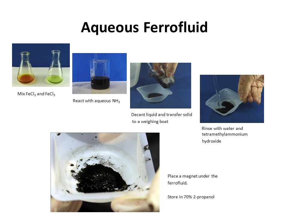 Aqueous Ferrofluid Mix FeCl 2 and FeCl 3 React with aqueous NH 3 Decant liquid and transfer solid to a weighing boat Rinse with water and tetramethylammonium hydroxide Place a magnet under the ferrofluid.