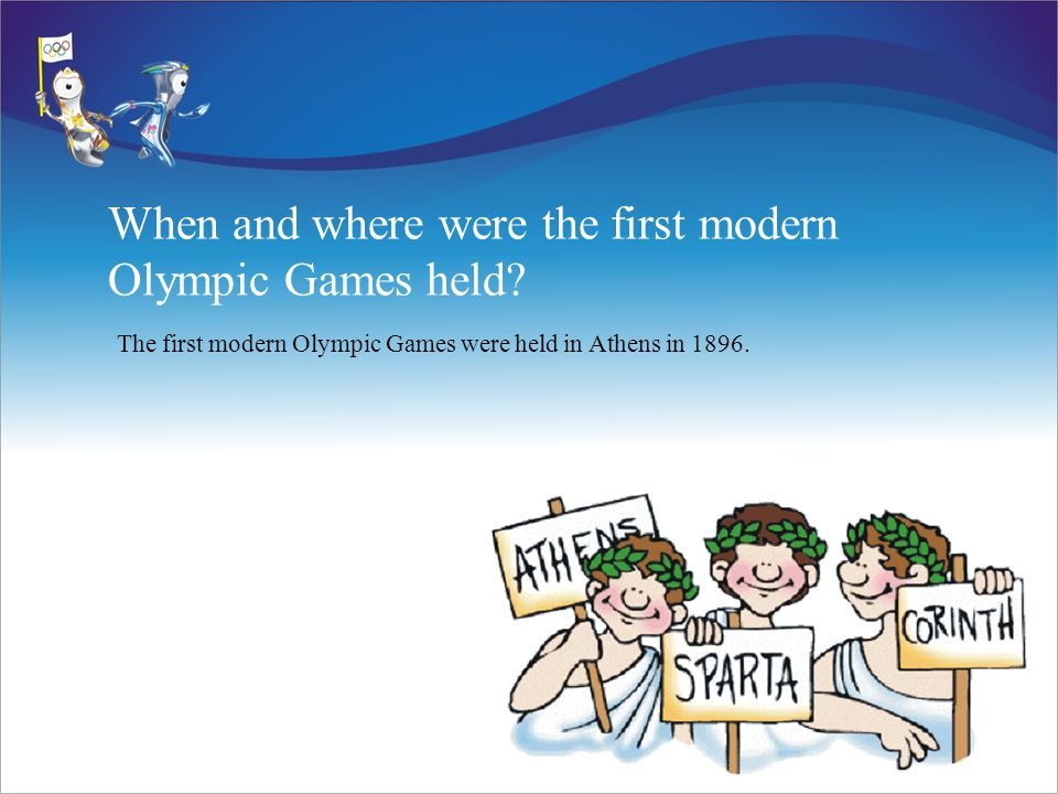 When and where were the first modern Olympic Games held.
