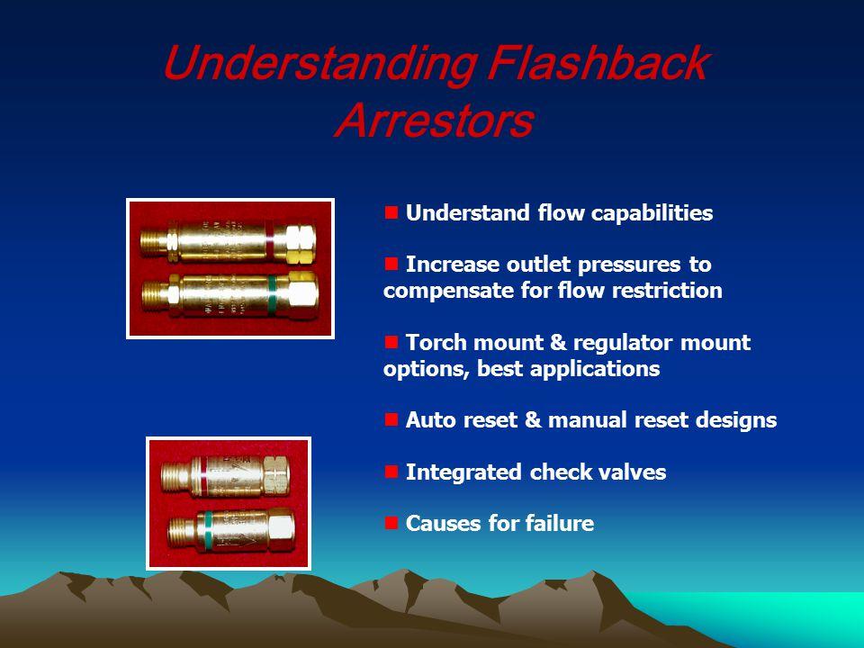 Understanding Flashback Arrestors Understand flow capabilities Increase outlet pressures to compensate for flow restriction Torch mount & regulator mo