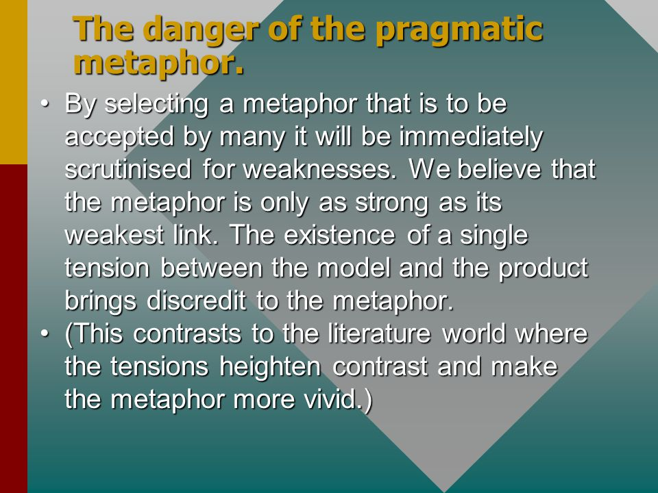 The danger of the pragmatic metaphor. By selecting a metaphor that is to be accepted by many it will be immediately scrutinised for weaknesses. We bel