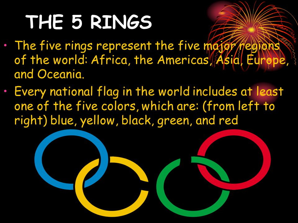 THE 5 RINGS The five rings represent the five major regions of the world: Africa, the Americas, Asia, Europe, and Oceania.