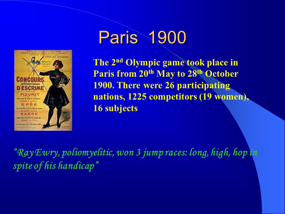 Saint Louis 1904 The 3 rd Olympic game took place in Saint Louis from 1 st July to 29 th October 1904.