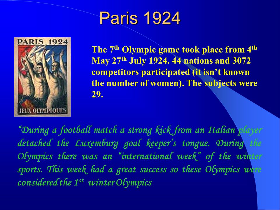Amsterdam 1928 The 8 th Olympic game took place in Amsterdam in 1928.