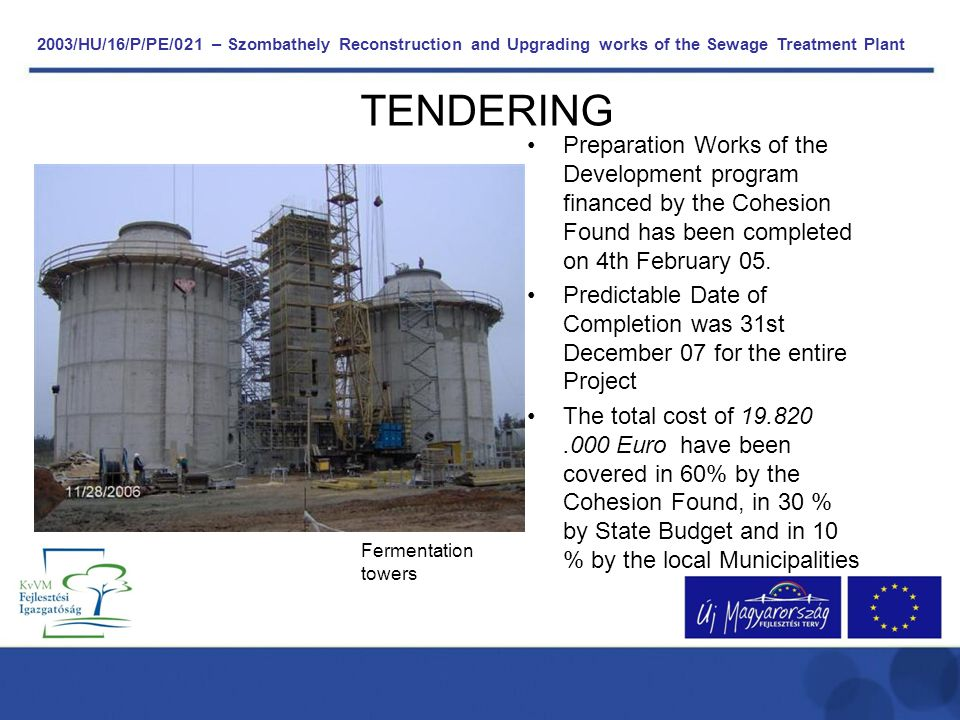 2003/HU/16/P/PE/021 – Szombathely Reconstruction and Upgrading works of the Sewage Treatment Plant TENDERING Preparation Works of the Development prog
