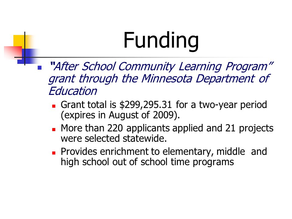 Funding After School Community Learning Program grant through the Minnesota Department of Education Grant total is $299,295.31 for a two-year period (expires in August of 2009).