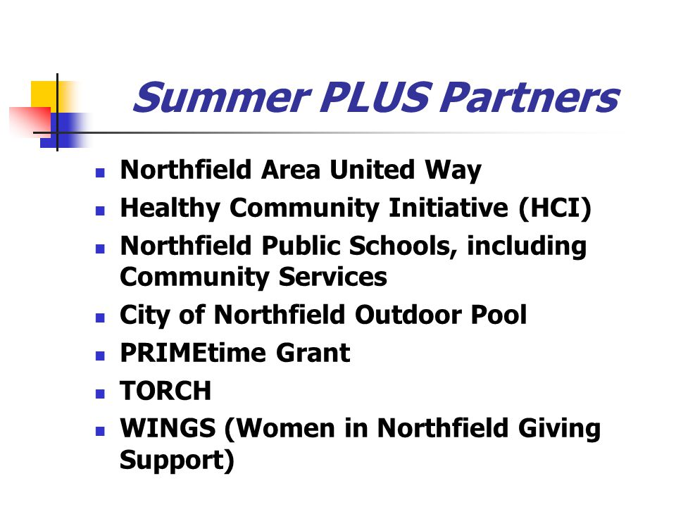 Summer PLUS Partners Northfield Area United Way Healthy Community Initiative (HCI) Northfield Public Schools, including Community Services City of Nor