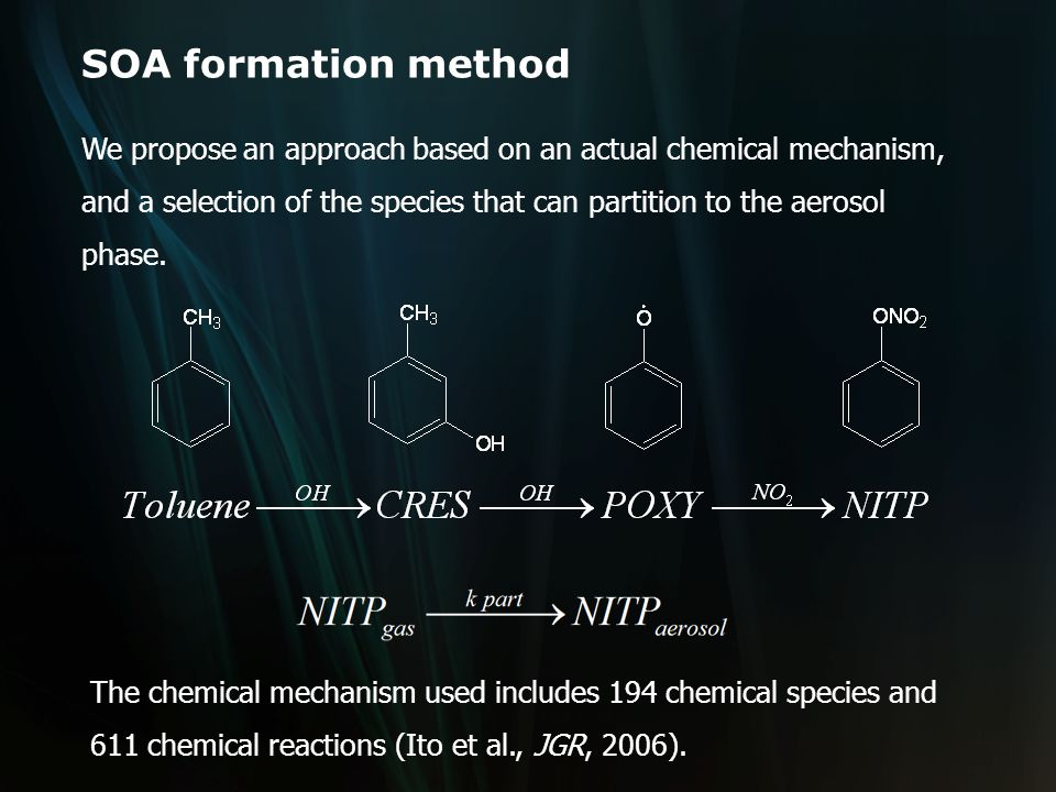 SOA formation method We propose an approach based on an actual chemical mechanism, and a selection of the species that can partition to the aerosol phase.